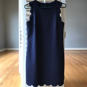 J. Crew Navy Scalloped Dress